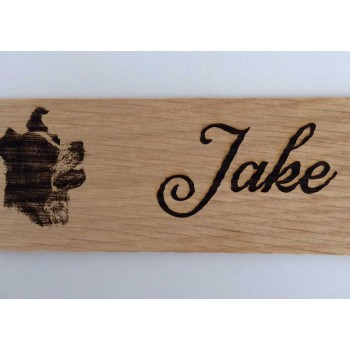 Personalised Collie Dog Sign Name Plaque in Oak