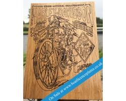 Harley Davidson Joe Petrali Recordman Engraved in Oak