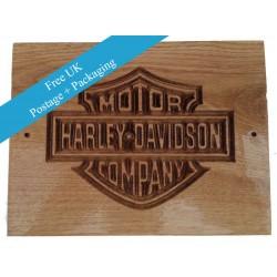 Harley Davidson Plaque in Oak
