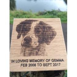Oak Memorial Plaque With Image