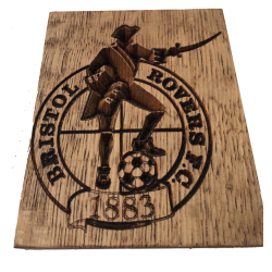 Bristol Rovers Football Club Logo Engraved In Oak