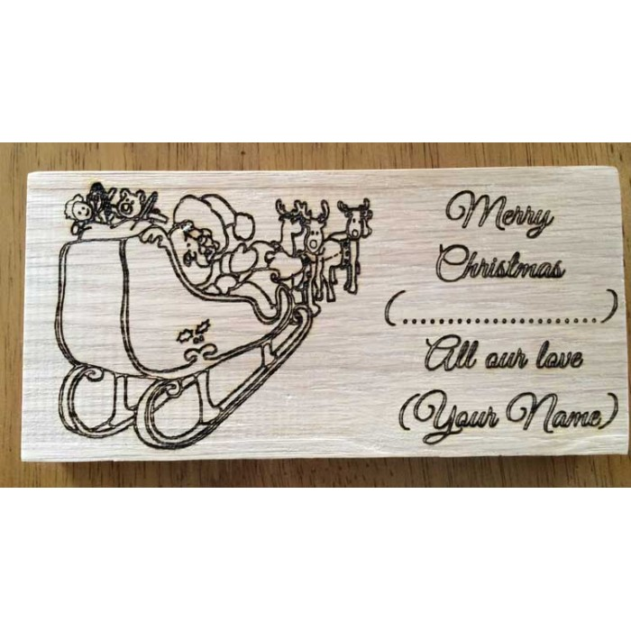 Christmas Sign.Personalised Oak Christmas Sign With The Wording Merry Christmas With All Our Love