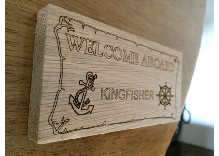 "Personalised OAK  ""Welcome Aboard"" Boat Sign"